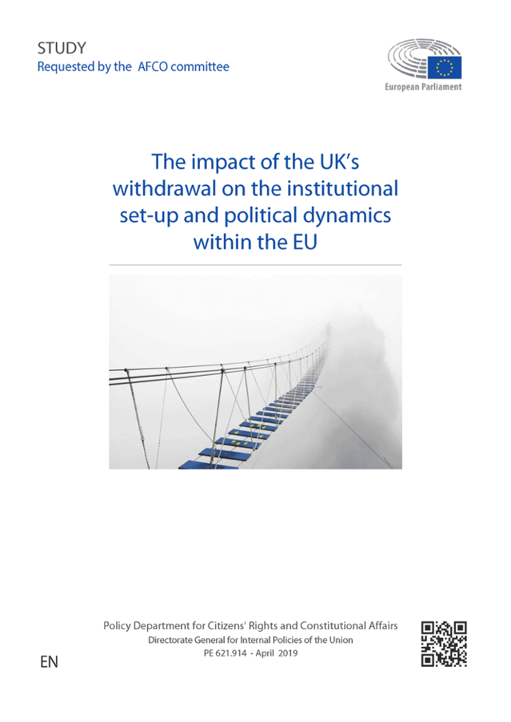 Cover of the report by Leonard Besselink: The impact of the UK's withdrawal on the institutional set-up and political dynamics within the EU (www.europarl.europa.eu/RegData/etudes/STUD/2019/621914/IPOL_STU(2019)621914_EN.pdf)