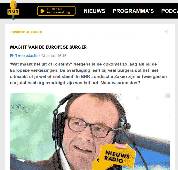 Screenshot BNR Nieuwsradio podcast 'Macht van de Europeese Burger', broadcast on 15 May 2019 with Christina Eckes, https://www.bnr.nl/podcast/juridische-zaken/10378023/macht-van-de-europese-burger